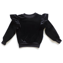 Load image into Gallery viewer, ZOE BLACK VELVET SWEATSHIRT