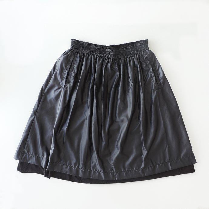 BLACK NYLON SKIRT MATTE