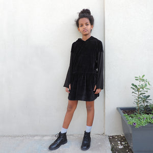 HOODIE DRESS BLACK VELVET