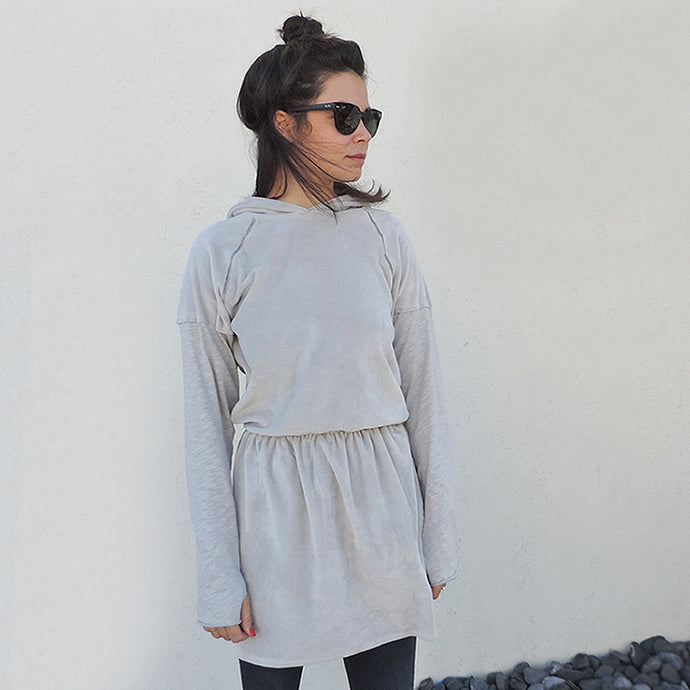 WOMAN GREY HOODIE DRESS