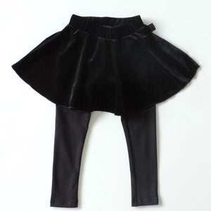BLACK VELVET LEGGINGS SKIRT