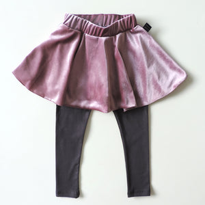 PINK VELVET LEGGINGS SKIRT