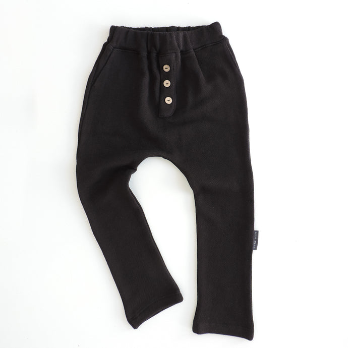 BUTTON PANTS BLACK TERRY