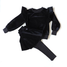 Load image into Gallery viewer, SET OF BLACK VELVET SWEATSHIRT AND SKIRT