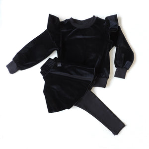 SET OF BLACK VELVET SWEATSHIRT AND SKIRT