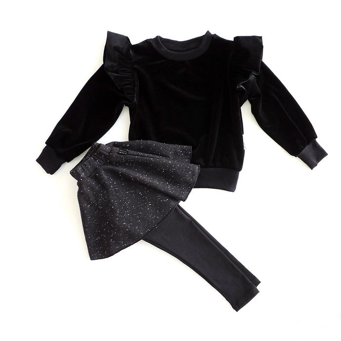 SET OF VELVET SWEATSHIRT AND SPACE SKIRT