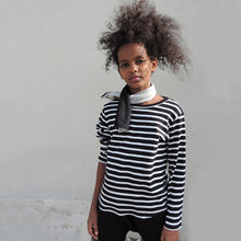 Load image into Gallery viewer, BLACK AND WHITE STRIPED TEE