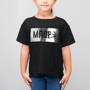 Kids Unisex reversible sequins Black T-shirt
