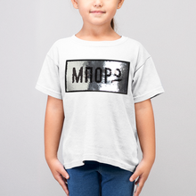 Load image into Gallery viewer, Kids Unisex reversible sequins White T-shirt