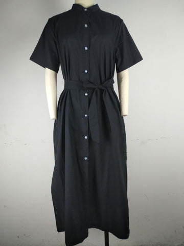Button-Front Tie-Waist Dress