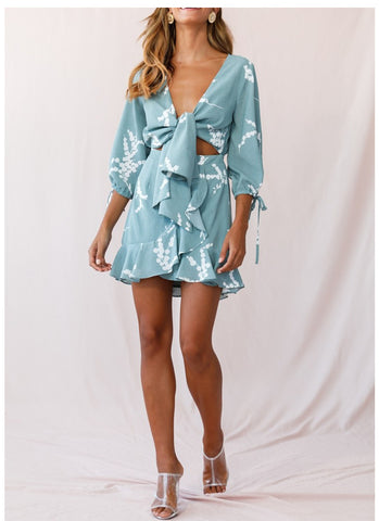 Bow-Front Floral Print Ruffle Dress