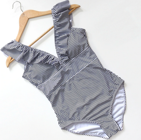 V Neck Blue Striped Ruffle Swimsuit