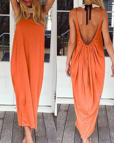Casual Loose Backless Maxi Dress