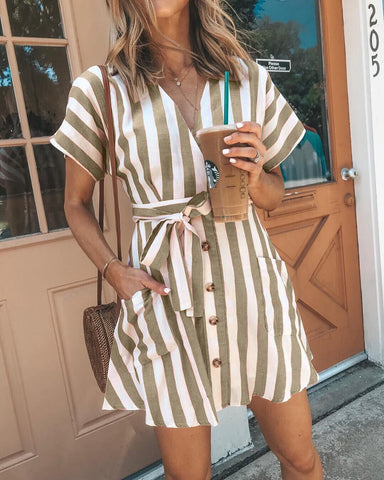 Sweet Striped Tie-Waist Button-Front Dress