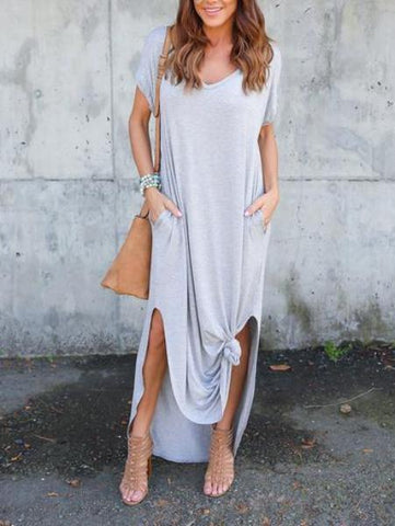 Color Short Sleeve V-Neck Dress
