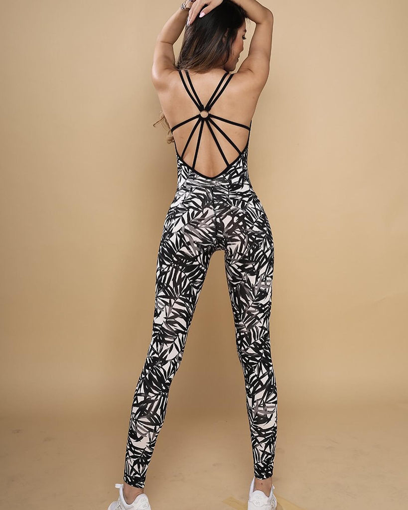 Black Leaves Print Jumpsuit