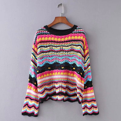 Sweet Round Neck Color Striped Sweater