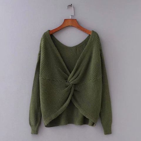 Women's Lazy Twisted Loose V-neck Sweater