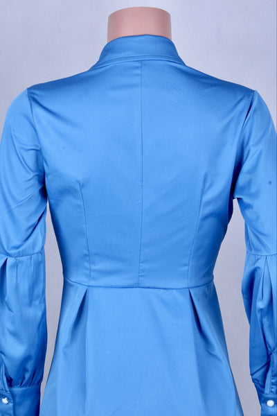 Blue  Lantern-Sleeve Irregular Dress