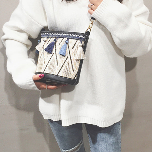 Casual Tassel Woven Bucket Bag