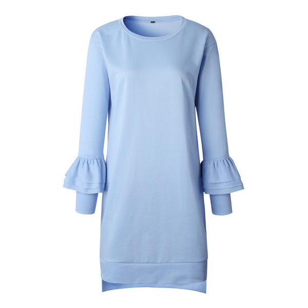 Casual Ruffle Long Sleeve Dress