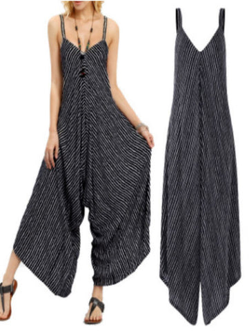 Casual Striped Loose Jumpsuit