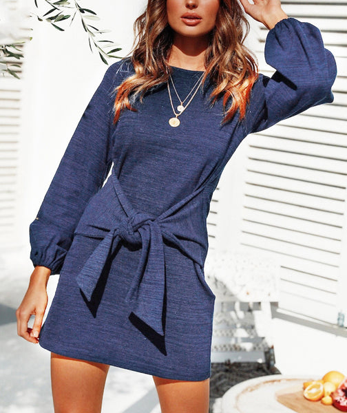 Casual comfortable solid color dress