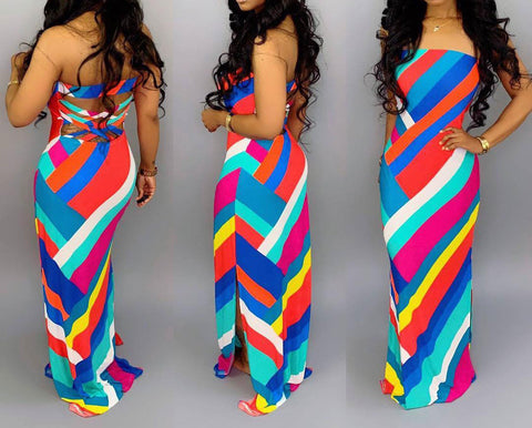Chic Backless Multicolor Striped Dress