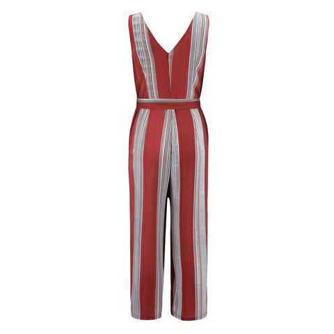 Chic Striped Tie-Waist Jumpsuit