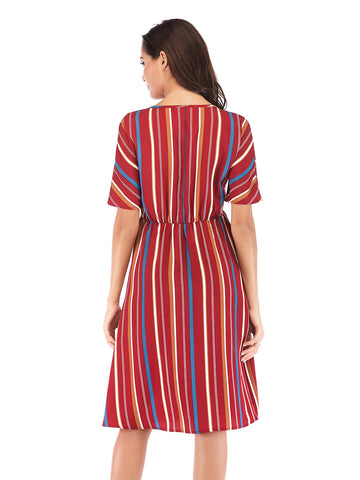Color Striped Button Dress