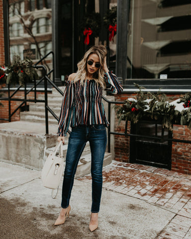 Colorful Striped Long-Sleeved Top