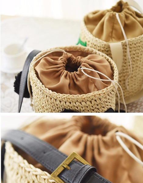 Cute Sweet Woven Bucket Bag