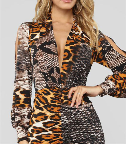 Deep V Neck Leopard Print Dress