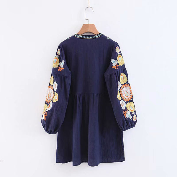 Embroidered Floral Loose Dress