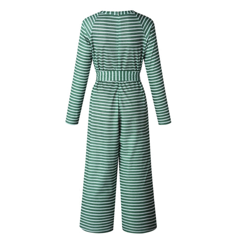 Fashion Long Sleeve Striped Jumpsuit