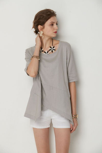 Irregular Caual Round Neck Top