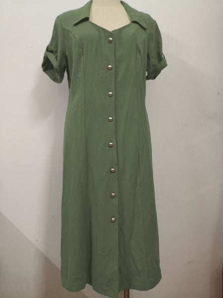 Loose Button-Front Dress