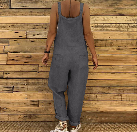Loose Casual Linen And Cotton Jumpsuit