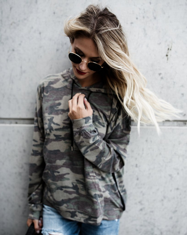 Loose Hooded Camouflage Long Sleeve Hoodies