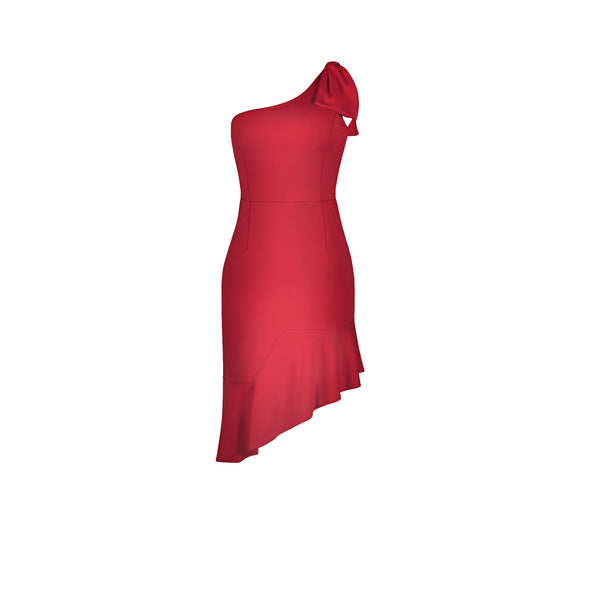 One-Shoulder Irregular Ruffle Dress