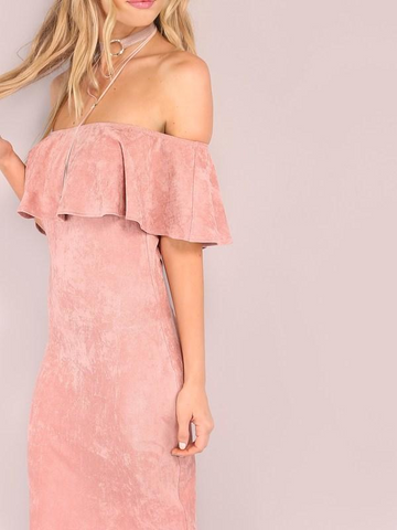 Pink Sweet Ruffle Bodycon Dress