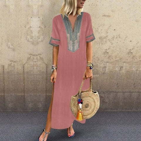 Printed V-Neck Casual Dress