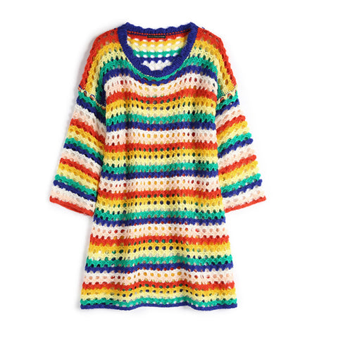 Rainbow Loose Openwork Sweater