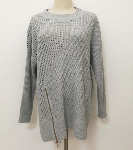 Round Neck Asymmetrical Hem Zipper Sweaters