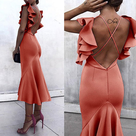 Sexy Backless Maxi Fishtail Bodycon Dress
