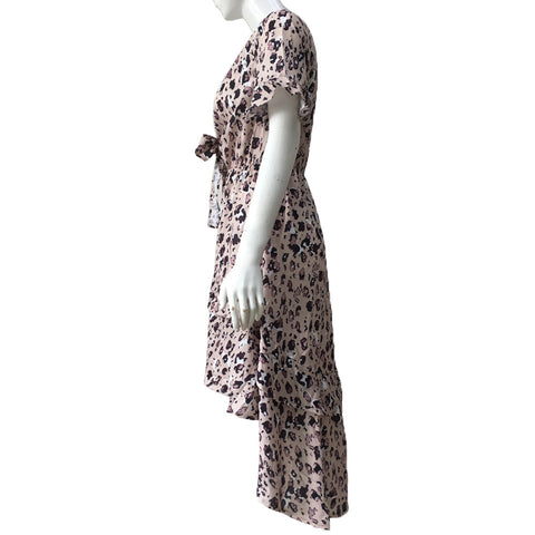 Sexy Irregular Leopard Printed V-Neck Dress