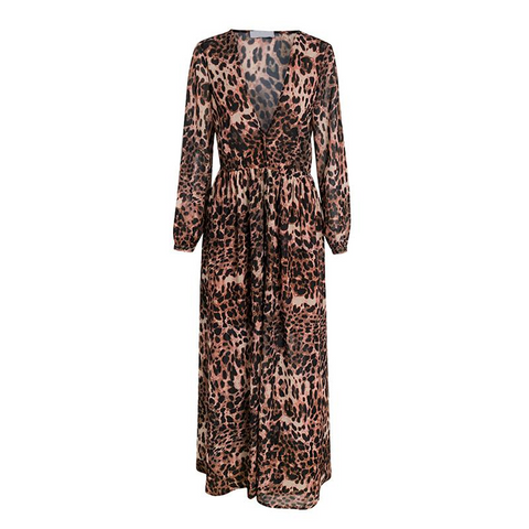 Sexy Leopard Deep V Neck Maxi Dress