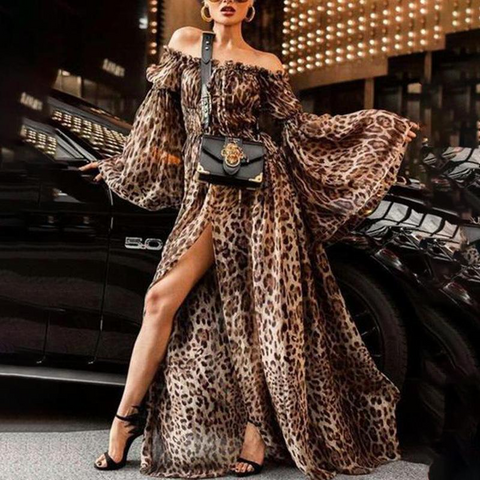 Sexy Leopard Off Shoulder Maxi Dress