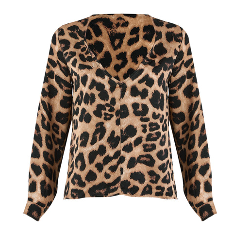 Sexy Leopard V-neck Long Sleeve Top