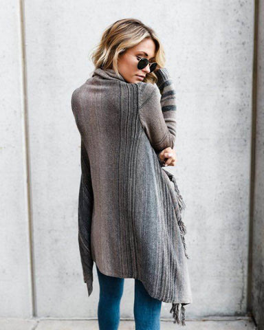 Slim-fit Fashion Fringed Striped Sweater